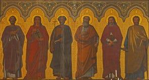 Антверпен - фреска апостола в пресвитерие Joriskerk или церков St. George от. цента 19. Стоковая Фотография