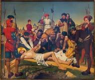 Антверпен - фреска - Иисус пригвозжен к кресту Josef Janssens от лет 1903 до 1910 в соборе нашей дамы стоковые фотографии rf