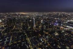 Антенна горизонта ночи Лос-Анджелеса Калифорнии Стоковое Фото