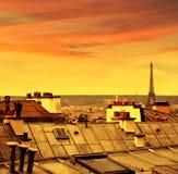 Антенна горизонта Парижа от Montmartre Стоковые Изображения
