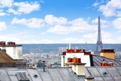 Антенна горизонта Парижа от Montmartre Стоковые Изображения RF