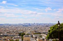 Антенна горизонта Парижа от Montmartre Стоковая Фотография