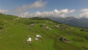 Антенна: горное село сверху в Velika Planina, Словении на лете видеоматериал