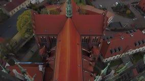 Антенна городка и собора Bialystok старых в Польше видеоматериал