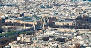 Антенна грандиозного Palais и Петит Palais в Париже стоковое фото rf