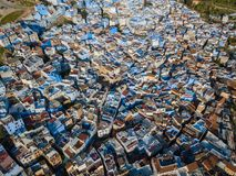 Антенна известного голубого города Chefchaouen Стоковое Изображение