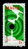 Антенна карты и радио, serie дня связей мира, около 1977 Стоковые Фотографии RF
