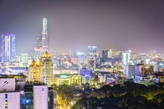 Антенна на ноче, Вьетнам Сайгона Стоковое Фото