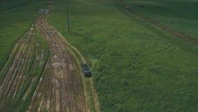 Антенна одного вождения автомобиля автомобиль идет внедорожным Черный автомобиль управляет через поле Зеленый вид с воздуха поля сток-видео