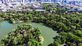 Антенна озера Weiminghu Пекинского университета Стоковые Фото