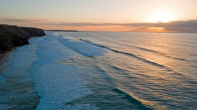 Антенна от Вейл Figueiras в Португалии на заходе солнца Стоковая Фотография