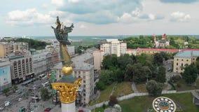 Антенна памятника Киева Украины maidan сток-видео