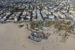 Антенна парка пляжа и конька Венеции Калифорнии Стоковые Фото