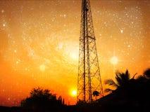 Антенна приема с оранжевым небом Стоковое Изображение