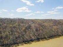 Антенна Рекы Susquehanna и окружающей територии в перепаде, Penns стоковое фото rf