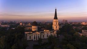 Антенна собор Transfiguration в Одессе, Украине Стоковые Фото