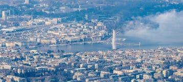 Антенна центра города Женевы Стоковое Изображение