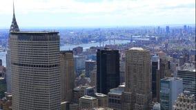 антенна timelapse 4K UltraHD воздушная центра города Манхаттана в Нью-Йорке видеоматериал