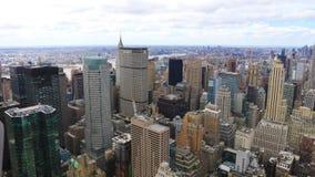 антенна timelapse 4K UltraHD воздушная центра города Манхаттана в Нью-Йорке сток-видео