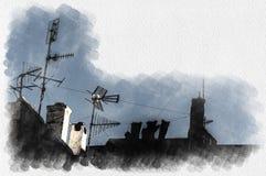 Антенны и печные трубы на крышах в типичной деревне иллюстрация вектора