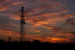 Антенны на заходе солнца Стоковое фото RF