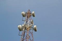 Антенны спутниковой антенна-тарелки с голубым небом Стоковое фото RF