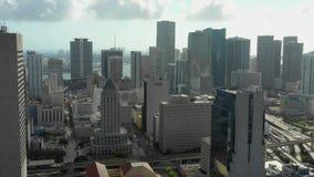 Антенны трутня городского Майами Южное Floridas большинств заселенный город акции видеоматериалы