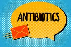 Антибиотики текста почерка Лекарство смысла концепции используемое в обработке и предохранении бактериальных инфекций бесплатная иллюстрация