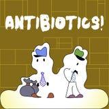 Антибиотики текста почерка Лекарство смысла концепции используемое в обработке и предохранении бактериальных инфекций иллюстрация вектора
