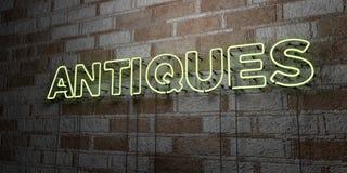АНТИКВАРИАТЫ - Накаляя неоновая вывеска на стене каменной кладки - 3D представило иллюстрацию неизрасходованного запаса королевск бесплатная иллюстрация