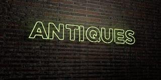 АНТИКВАРИАТЫ - реалистическая неоновая вывеска на предпосылке кирпичной стены - представленное 3D изображение неизрасходованного  иллюстрация штока