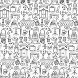 Антиквариаты Doodle безшовная картина иллюстрация штока