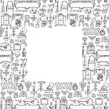 Антиквариаты Doodle безшовная рамка иллюстрация штока