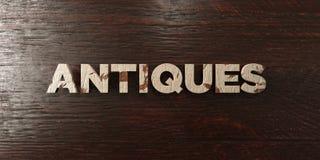 Антиквариаты - grungy деревянный заголовок на клене - представленное 3D изображение неизрасходованного запаса королевской власти иллюстрация вектора