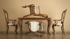 Антиквариат воспроизводства обедая стулы и таблица Стоковое Изображение RF