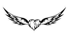 Антиквариат дизайна картины татуировки сердца крылов старый Стоковое Фото
