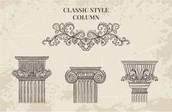 Антиквариат и барочный классический комплект вектора столбца стиля Винтажные архитектурноакустические элементы дизайна деталей Стоковая Фотография