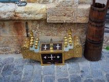 Античная латунная коробка блеска ботинка Стоковые Фотографии RF