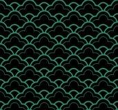 Античная безшовная зеленая линейная шкала кривой предпосылки иллюстрация вектора