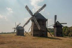 Античная ветхая деревянная ветрянка, Pirogovo Стоковое фото RF