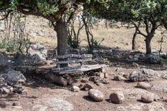 Античная деревянная скамья сделанная вносит дальше Голанские высоты в журнал Стоковое фото RF
