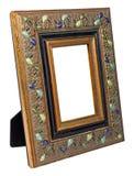 Античная деревянная рамка фото изолированная на белой предпосылке Стоковая Фотография RF