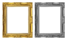 античная золотая и серая рамка изолированная на белой предпосылке, пути клиппирования Стоковая Фотография RF