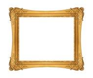 Античная золотая рамка изолированная на белой предпосылке Стоковая Фотография