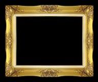 Античная золотая рамка изолированная на черной предпосылке Стоковая Фотография RF
