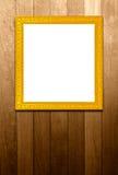 Античная золотая рамка на деревянных pannels Стоковые Изображения