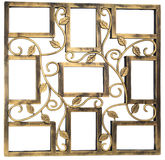 Античная золотая рамка фото с элементами флористического выкованного орнамента Установите 9 9 кадров белизна изолированная предпо Стоковые Фотографии RF