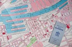 античная карта Глазго Стоковая Фотография