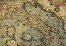 античная карта Италии Стоковое фото RF