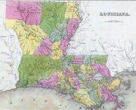 античная карта Луизианы Стоковые Фото